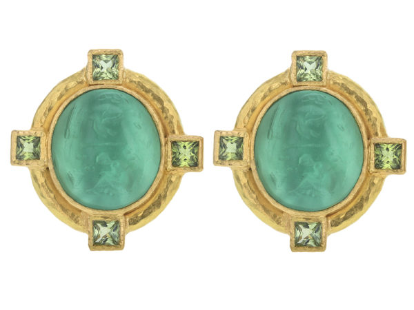 "Elizabeth Locke Nile Venetian Glass Intaglio ""Cab Boy and Bird"" Earrings with Faceted Peridot Stones thumbnail"
