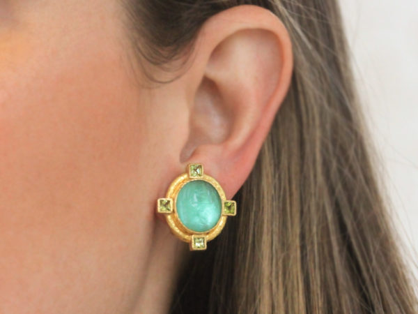"Elizabeth Locke Nile Venetian Glass Intaglio ""Cab Boy and Bird"" Earrings with Faceted Peridot Stones"