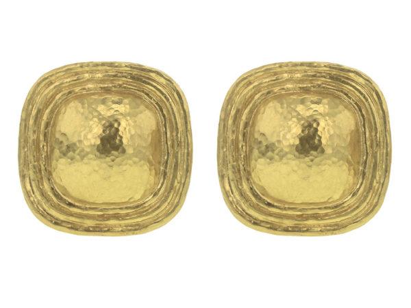 Elizabeth Locke Square Gold Dome Earrings with Flat Ridge Bezel thumbnail