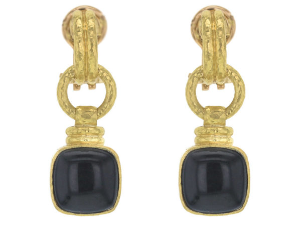 "Elizabeth Locke Double-Banded ""Cheerio"" Earrings with Swinging Cushion Black Jade and Topknot thumbnail"