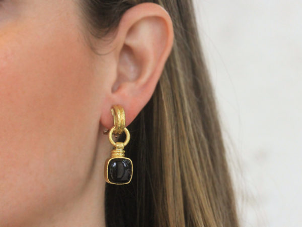 "Elizabeth Locke Double-Banded ""Cheerio"" Earrings with Swinging Cushion Black Jade and Topknot"