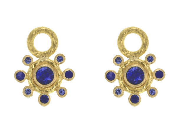 Elizabeth Locke Faceted Blue Sapphire Earring Charms with Blue Sapphire Halo thumbnail