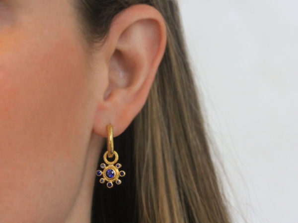 Elizabeth Locke Faceted Blue Sapphire Earring Charms with Blue Sapphire Halo