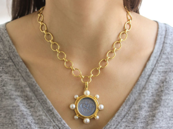 "Elizabeth Locke Cerulean Venetian Glass Intaglio ""Cupid Riding Lion"" Pendant With Pearls"