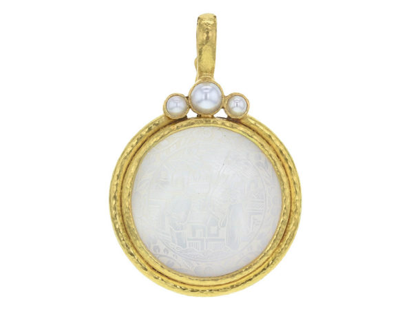 Elizabeth Locke 18th Century 30-31mm Chinese Gambling Counter Pendant with Pearls thumbnail