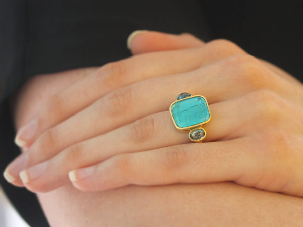 "Elizabeth Locke Teal Venetian Glass Intaglio ""Greek Muse"" Cabochon Zircon Ring"