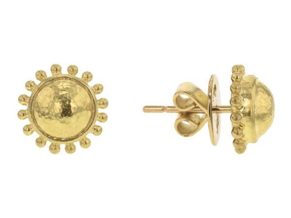 Elizabeth Locke Gold Dome Stud Earrings With Granulation model shot #2