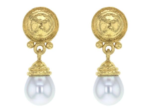 "Elizabeth Locke Round Gold Dome ""Athenian"" Bezel and Swinging White South Sea Pearl Drop Earrings thumbnail"