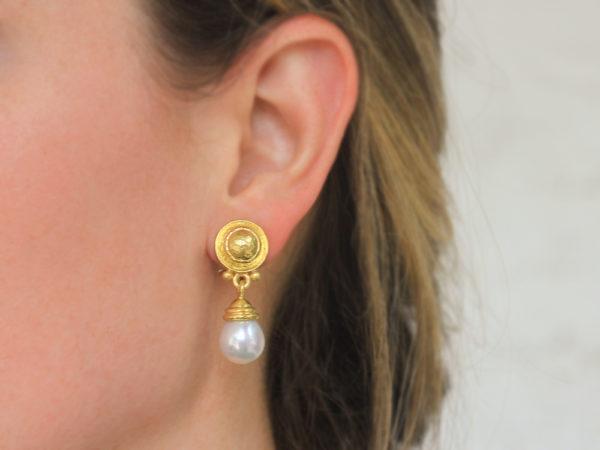 "Elizabeth Locke Round Gold Dome ""Athenian"" Bezel and Swinging White South Sea Pearl Drop Earrings"