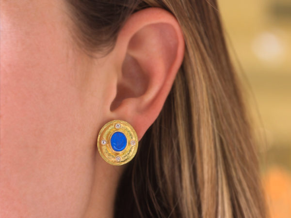 """Elizabeth Locke Peacock Venetian Glass Intaglio """"Micro Angel and Dog"""" Earrings with Faceted Moonstone"""