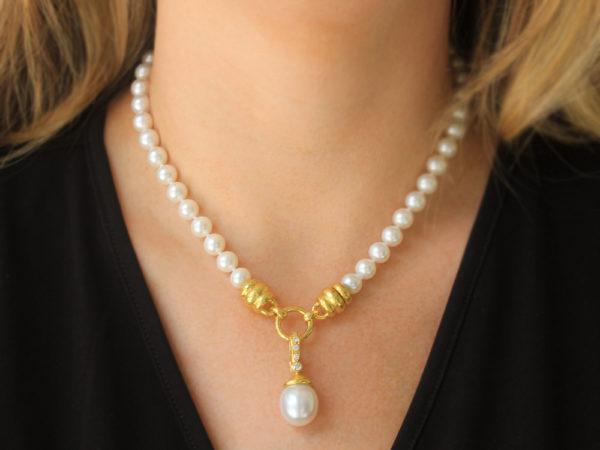 Elizabeth Locke South Sea Pearl With Acorn Cap & Diamond Bale Pendant
