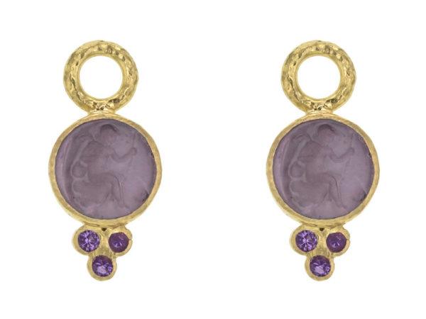 "Elizabeth Locke Mulberry Venetian Glass Intaglio ""Round Cupid"" Earring Charms With Three Amethyst Triads On Thin Bezel thumbnail"
