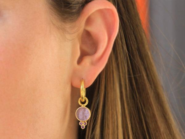 """Elizabeth Locke Mulberry Venetian Glass Intaglio """"Round Cupid"""" Earring Charms With Three Amethyst Triads On Thin Bezel"""