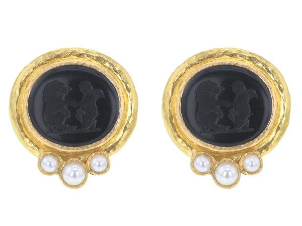 "Elizabeth Locke Black Venetian Glass Intaglio ""Lion and Putto"" Earrings with Three-Pearl Bottom thumbnail"
