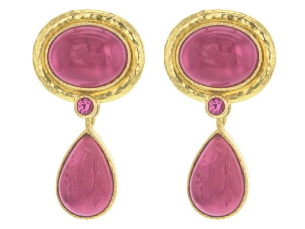"Elizabeth Locke Pink Venetian Glass Intaglio ""Cab Equestrian"" Earrings with Removable Pear Shape Drop thumbnail"