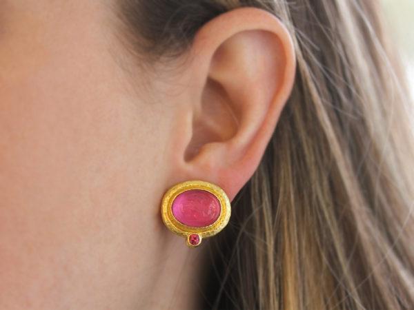 """Elizabeth Locke Pink Venetian Glass Intaglio """"Cab Equestrian"""" Earrings with Removable Pear Shape Drop model shot #2"""
