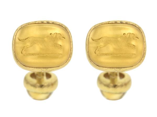 """Elizabeth Locke Citrine Seal """"Cushion Dog"""" Cufflinks with curved bar and round cabochon citrine model shot #3"""