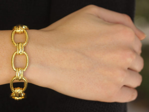 Elizabeth Locke Rectangular and Banded Link Bracelet model shot #1