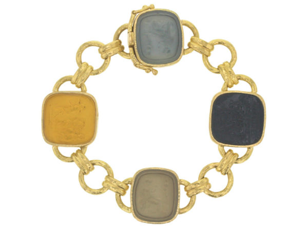 "Elizabeth Locke Neutral Venetian Glass Intaglio ""Seated Minerva"" Link Bracelet With Round and Banded Connectors and Box Clasp thumbnail"