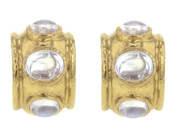 Elizabeth Locke Cabochon Moonstone Earrings in Puffy Bezel thumbnail