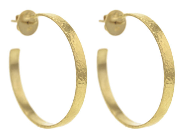 Elizabeth Locke Flat Ribbon Hammered Hoops with Post and Butterfly Back, 39mm thumbnail
