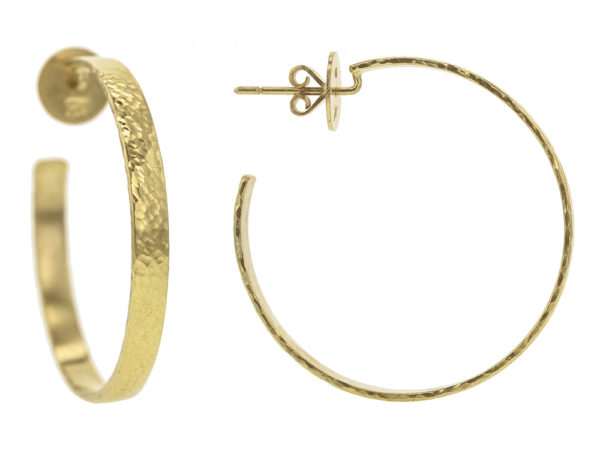 Elizabeth Locke Flat Ribbon Hammered Hoops with Post and Butterfly Back, 39mm model shot #4