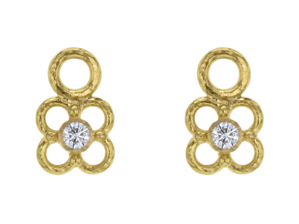 Elizabeth Locke Round Diamond and Dotted Wire Arches Earring Charms thumbnail