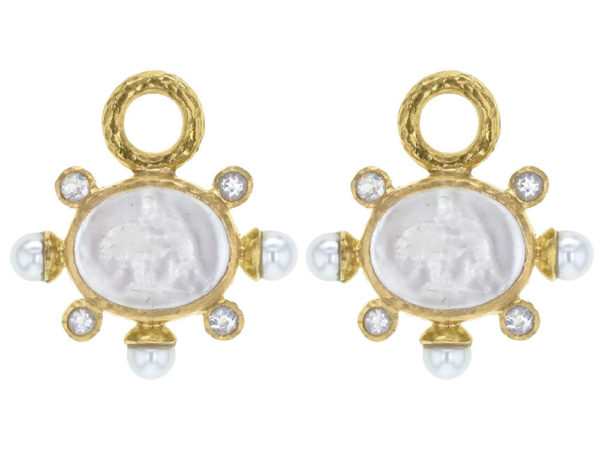 "Elizabeth Locke Crystal Venetian Glass Intaglio ""Tiny Lion"" Earring Charms With Pearls and Faceted Moonstone thumbnail"