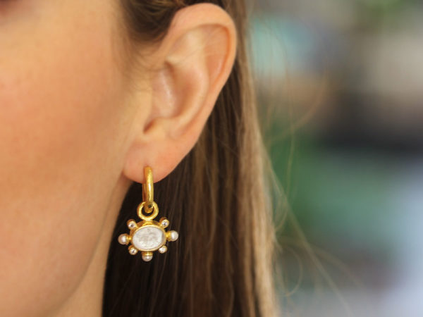 "Elizabeth Locke Crystal Venetian Glass Intaglio ""Tiny Lion"" Earring Charms With Pearls and Faceted Moonstone"