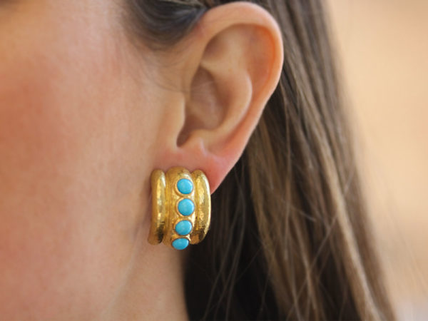 "Elizabeth Locke Turquoise ""Amalfi"" Earrings model shot #1"