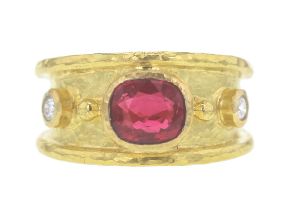 Elizabeth Locke Cushion Faceted Red Spinel Cigar Band With Two Diamonds thumbnail