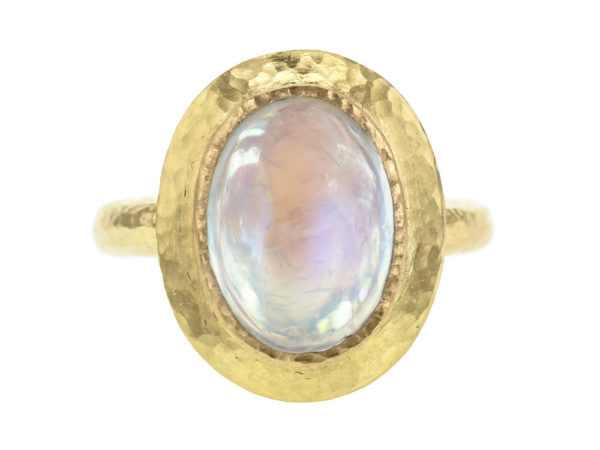 Elizabeth Locke Vertical Oval Moonstone Ring with Flat Step Bezel thumbnail
