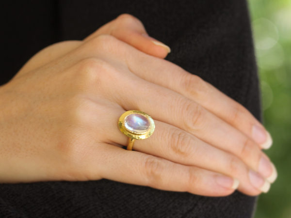 Elizabeth Locke Vertical Oval Moonstone Ring with Flat Step Bezel