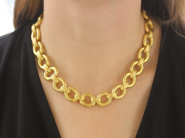 "Elizabeth Locke 17"" ""Borghese"" Link Necklace with Toggle and Ring Closure"