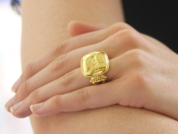 "Elizabeth Locke Gold Cushion ""Rearing Horse"" Ring model shot #2"