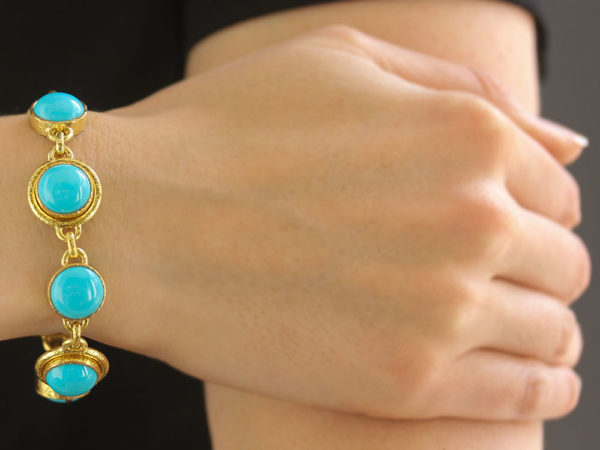 Elizabeth Locke Sleeping Beauty Turquoise Link Bracelet