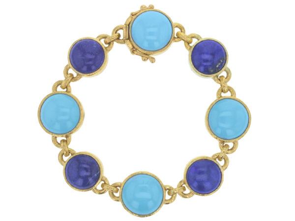 Elizabeth Locke Sleeping Beauty Turquoise and Lapis Link Bracelet thumbnail