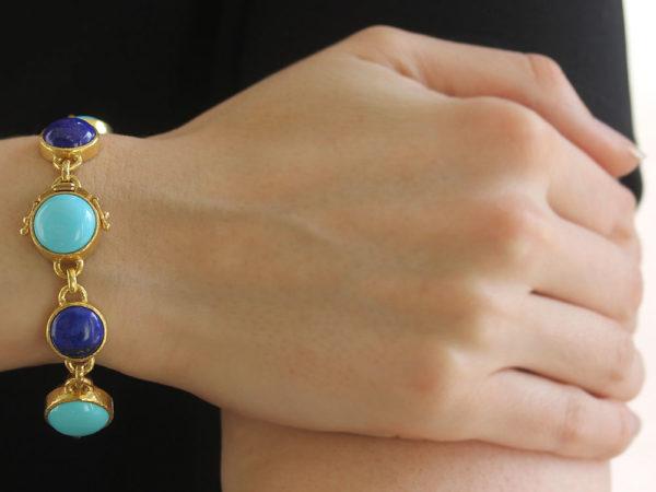 Elizabeth Locke Sleeping Beauty Turquoise and Lapis Link Bracelet