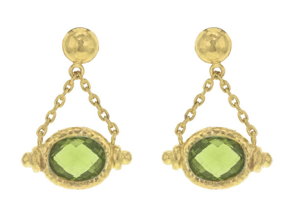 Elizabeth Locke Gold Dome With Faceted Oval Peridot Drop Earrings thumbnail