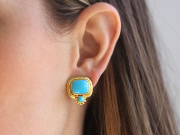 Elizabeth Locke Cushion Sleeping Beauty Turquoise Earrings with Bottom Round Turquoise and Surrounding Gold Dots