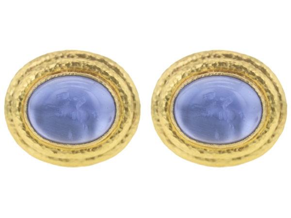 """Elizabeth Locke Cerulean Venetian Glass Intaglio """"Cab Equestrian"""" with """"Athenian"""" Bezel Earrings thumbnail"""