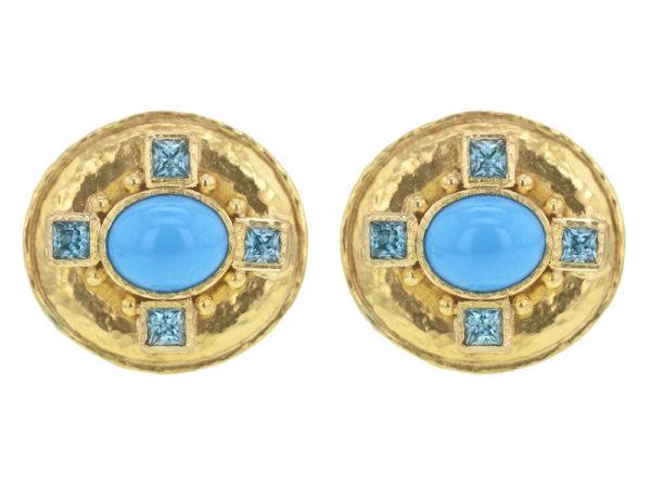 Elizabeth Locke Horizontal Oval Sleeping Beauty Turquoise Earrings With Faceted Blue Zircons thumbnail