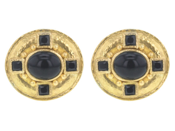Elizabeth Locke Horizontal Oval Onyx Earrings with Faceted Black Spinels thumbnail