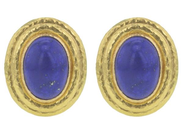Elizabeth Locke Vertical Oval Lapis Triple Bezel Earrings thumbnail