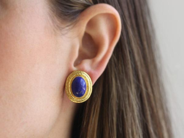 Elizabeth Locke Vertical Oval Lapis Triple Bezel Earrings