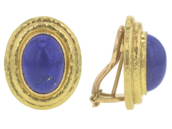 Elizabeth Locke Vertical Oval Lapis Triple Bezel Earrings model shot #2