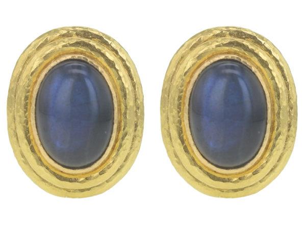 Elizabeth Locke Vertical Oval Labradorite Triple Bezel Earrings thumbnail