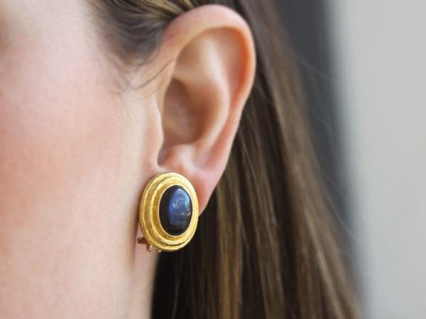 Elizabeth Locke Vertical Oval Labradorite Triple Bezel Earrings