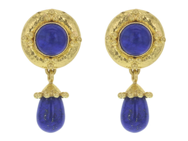 Elizabeth Locke Round Lapis Earrings with Gold Triads with Detachable Lapis Drop Earrings thumbnail