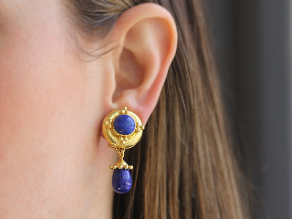 Elizabeth Locke Round Lapis Earrings with Gold Triads with Detachable Lapis Drop Earrings